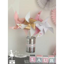 10 Moulins à vent rose doré blanc décor couronnes