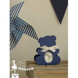 Boite Nounours bleu marine et ruban blanc