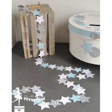 Guirlande d'étoiles cousue bleu pastel gris blanc