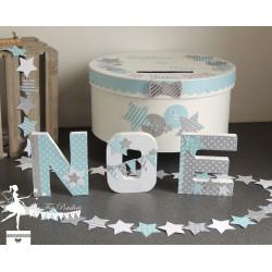 Lettre décorée 12 cm Etoile & nuage bleu pastel gris & blanc