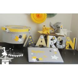 Urne CLASSIQUE étoile gris jaune & blanc
