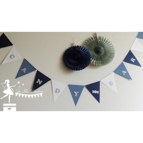 Guirlande de fanions Candy Bar bleu marine blanc et argent