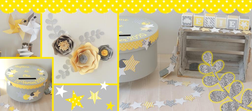 Thème Etoiles et Fleurs 3D jaune gris et blanc composé de moulins à vent, d'une guirlande cousue d'étoiles, de cubes en bois, d'un lot de fleurs 3D et d'une urne assortie
