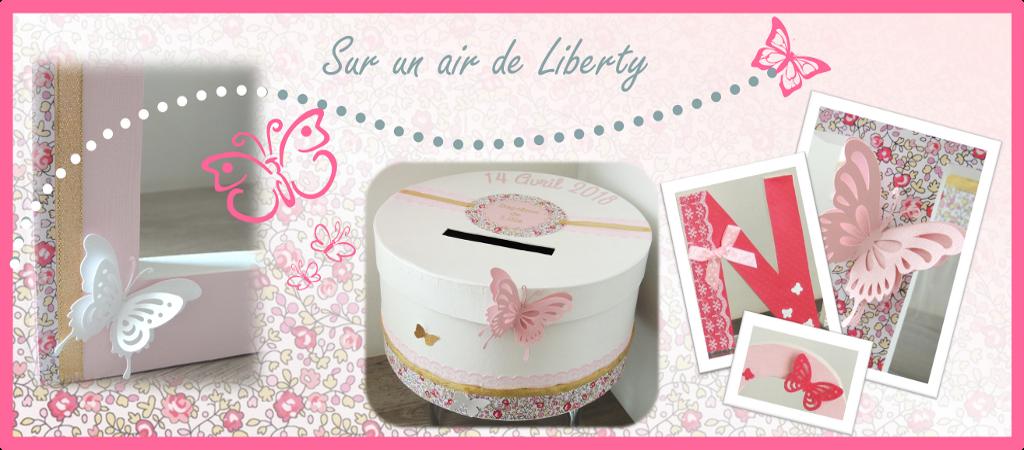Collection rose doré blanc et fuchsia basée sur le tissus Liberty et les papillons avec une urne au thème, et des lettres décorées